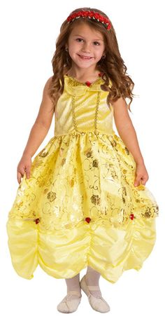 Princess Belle Dress Up Costume -  Your little princess will be the Belle of the ball in this super soft, comfortable and non-itchy princess dress! Machine washable. #pretend #princess #dressup