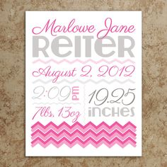 Birth Announcement Wall Art  DIY Printable by DesignsWithStyle, $20.00