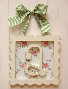 The Framed Wooden Letters .... @Molly Simon Mahoney-Ditlove Can you make one for each of the girls?