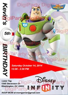 Take a look at this...*NEW* Buzz Lightyear Toy Story Birthday Invitation DISNEY by DigiParty, $9.99