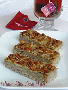 : Pecan Chai Spice Bars - need pecans, coconut flour, brewed chai tea (tea bag ok), maple syrup, cashew butter; no cooking or dehydrating needed but chill for at least 2 hours; recipe chef amber in Practically Raw Desserts book; Vegan Heritage Press Blog