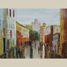 ORIGINAL The Old Town 30x40 Oil Painting Palette Knife by decorpro, $335.00