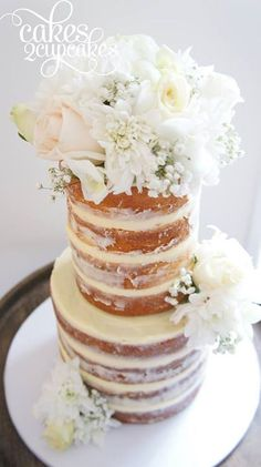 Beautiful Floral Bouquet Naked Wedding Cake
