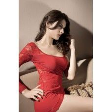 Red Single Shoulder Lace Mini Dress | Sensuous Sexy Nightwear | Surprise him | Buy sexy nightwear online on sexpiration.com