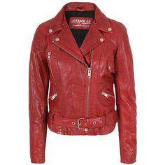 Jofama Retro Woman Red Leather Jacket - Polyvore
