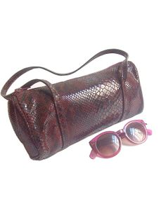 90s  ITALIAN PURSE  burgundy snake embossed by lesclodettes, $45.00