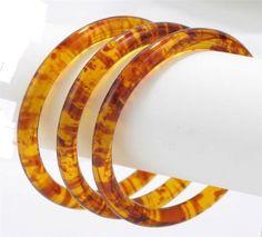 Tortoise Shell Acrylic Bangle Bracelet Set of 3 $15.99