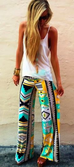Aztec Pants White Shirt. Hing Sandals and Suitable Accessories. Nice Look