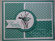 handmade thank you card ... Bermuda Bay and white ... blocks of patterned papers ... circle meadallio with simple bird .,, penant with sentiment ... Stampin' Up!