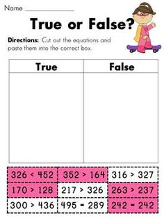 good idea for showing the kinders how to answer true & false questions, and can be modified to do differentiated 1, 2, and 3 digit numbers :: superhero 1,2, and 3 digit greater than less than packet