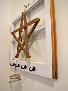 Repurposed old Window w/ hooks...
