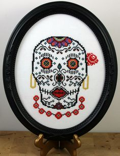 PDF pdf Original Cross Stitch Pattern  Sugar Skull by bombastitch, $4.00