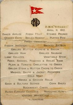 Titanic breakfast menu