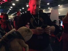 Game Director Matt Firor and Ollie the Guar compare notes after the ESO PvP tournament at QuakeCon 2014.