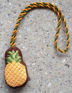 Pineapple Needlepoint Scissor Finder by Kirk & Bradley, stitched by needlepoint.com