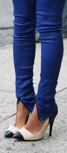 Emerald blue zipper skinnies