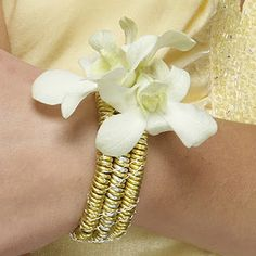 elegant gold and white prom flowers boutonnier, white prom, galleries, dendrobium bracelet, prom floral, bracelets, prom flower, flowers, corsag