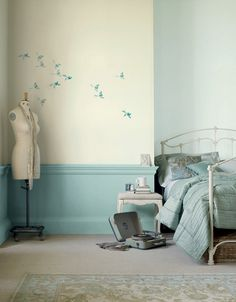 What is it about birds that I love them as graphic elements. This is a fun wall treatment!