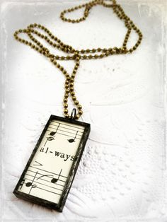 Sheet Music Pendant Always Necklace Pink and Green by Mystarrrs