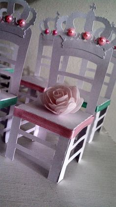 Mini chair decorations at a Minnie Mouse Birthday Party!  See more party ideas at CatchMyParty.com!