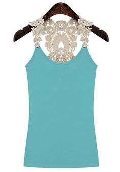 Love this! Sky Blue Patchwork Sleeveless Lace Crochet Cotton Tank Top! #Sky_Blue #Lace #Crochet #Summer #Tank_Top #Beach #Fashion sky blue, blue patchwork