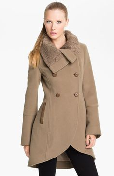 Mackage Knit & Leather Trim Double Breasted Coat