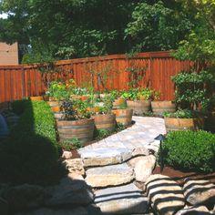 Wine barrel planter garden.