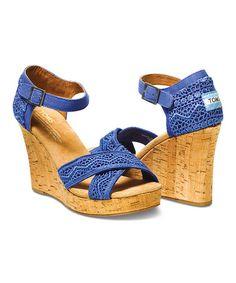 Cobalt Crochet Wedge Sandal - Women #zulily #zulilyfinds