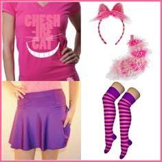 Cheshire cat with plum sparkle skirt and raw threads Cheshire shirt