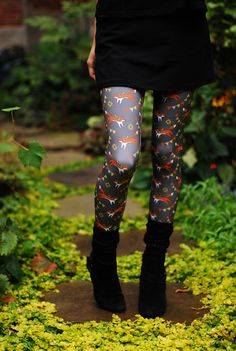 Fox print leggings digitally printed Supayana. $65.00, via Etsy.