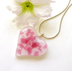 Glass Heart Pendant Fused Glass Jewelry by GreenhouseGlassworks #gifts #valentines