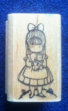 Joan Walsh Anglund Girl With Doll Rubber Stamp by relativelyretro. , via Etsy.