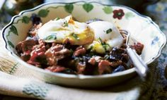 Spicy Eggplant & Tomato with Poached Eggs
