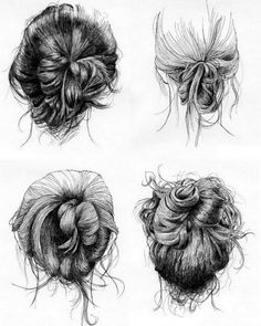 Loosely tied hair illustration