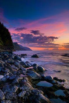 Sunset, Kauai (Na Pali Coast).