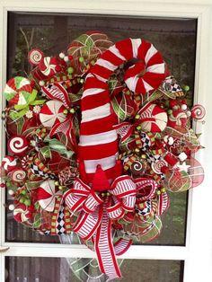 Elf Hat Christmas Deco Mesh Wreath christmas wreath by WreathsEtc