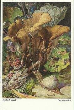 Gnomes meeting a snail