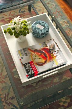 At Home: Coffee Table Tray  http://www.careyonlovely.com/2013/03/at-home-coffee-table-tray.html