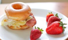 Krispy Kreme Doughnut Croque Madame  (I like how it's pictured with strawberries to give a nod to good nutrition.)