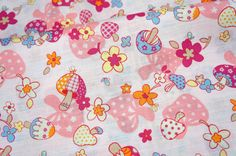 ON SALE Japanese fabric Mushroom Print A21