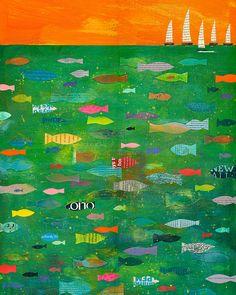 Sailboats, PRINT 8x10, Sailboat, Tropical Fish, Folk Art Fish, Nautical, Ocean, Sea, type collage texture   by Elizabeth Rosen elizabeth rosen, school auction, folk art, fishers of men, collag, tropical fish, sea, sailboat, kid