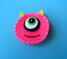 Halloween Felt Hair Clip Playful Monster by extrafrostingplease, $4.00