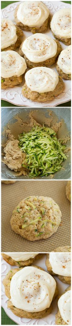 Zucchini Cookies with Cream Cheese Frosting - These cookies are melt-in-your-mouth delicious! Like zucchini bread meets pumpkin cookies.