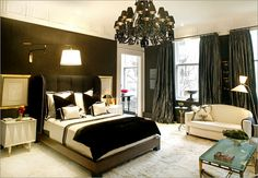 love the black and white bedroom
