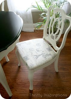 Annie Sloan Chalk Paint in Old White on a French Provincial Dining Set with Espresso Stain
