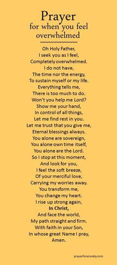Feeling overwhelmed prayer