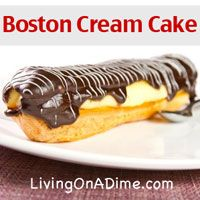 Just 4 Ingredients! This easy Boston Cream Cake Recipe recipe gets rid of all the mess and fuss of making Boston Cream Cake. It is as simple as baking a cake and frosting it. Click here to get this yummy #recipe http://www.livingonadime.com/easy-boston-cream-cake-recipe/
