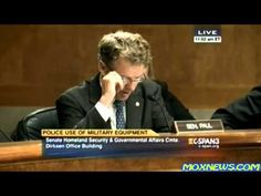 """RAND PAUL: """" Confronting PROTESTERS with armored personal with armored personnel carriers is THOROUGHLY UN-AMERICAN and for 150 years we've had rules separating the military keeping the military out of policing affairs (THAT ENDED WITH NDAA). You've obscured that making the police the military."""""""