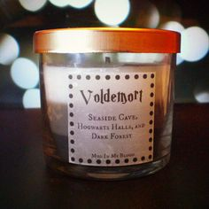 Voldemort-scented 4oz candle: Seaside Cave, Hogwarts Halls, and Dark Forest