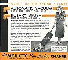 "Amazing Double Action Cleaner! This pamphlet for the Non Electric Vac-u-ette in 1914 promotes that it has ""no wires, plugs or switches to bother with – no current to pay for."" #history"